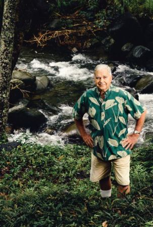 Longtime 'Īao Valley farmer and familiar face in the Nā Wai 'Ehā case, John Duey stands in front of a section of 'Īao Stream that still flows. Photo by Ryan Siphers. All rights reserved.
